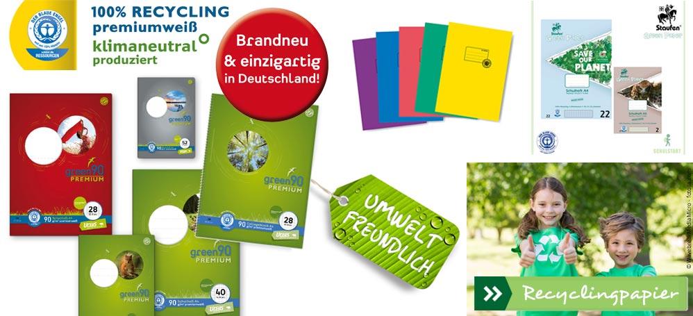 Umweltschutz mit Recycling-Schulheften