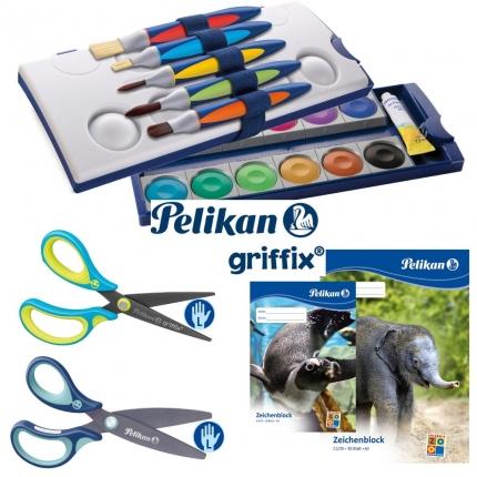 Pelikan griffix Set XL, links: Farbkasten, griffix Pinsel+Scheren, und mehr