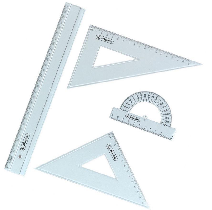 Lineal-Set, 4-teilig, Herlitz: Lineal 30 cm, zwei Dreiecklineale ...