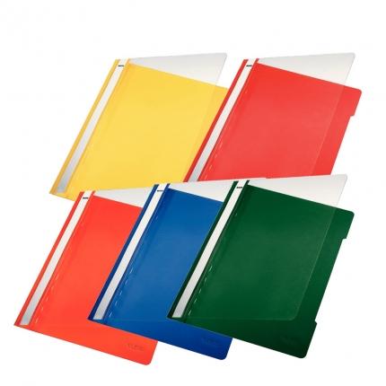 Leitz Schnellhefter PVC, 5 Farben: gelb und orange, rot, blau, grün