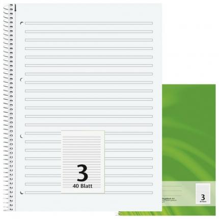 Schulblock Lineatur 3, DIN A4, Brunnen