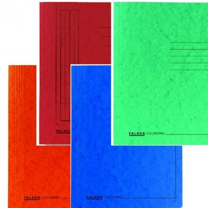 Vier Schnellhefter von Falken: orange, rot, blau, grün