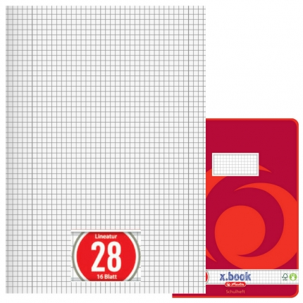 Heft Lineatur 28, kariert mit Doppelrand, A4, Herlitz