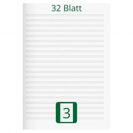 Großes Doppelheft DIN A4, Lineatur 3, 32 Blatt