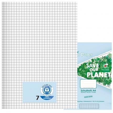 Schulhefte Blauer Engel: Lineatur 7, A4, Green Paper