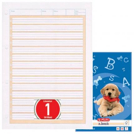 Arbeitsblock Lineatur 1, 50 Blatt gelocht, A4, Herlitz
