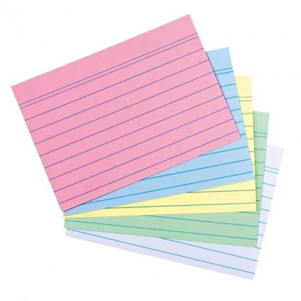 Karteikarten A6, farbig liniert, 100er Packung