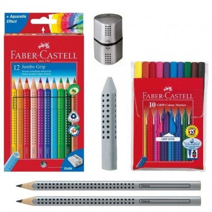 Faber-Castell Grip Set, silber: Jumbo Grip Stifte, Spitzer