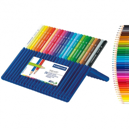 24 Staedtler ergosoft Buntstifte dreikant in Aufstellbox