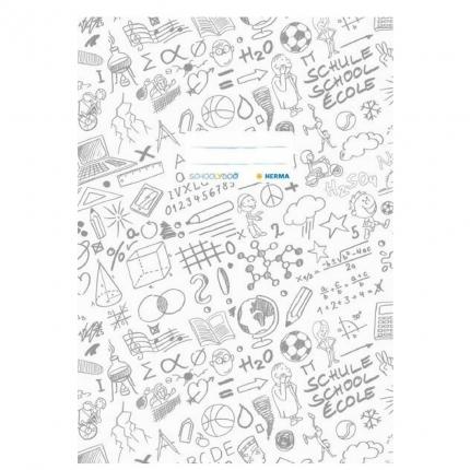 Hefteinband A4, weiß gemustert, Herma Schoolydoo