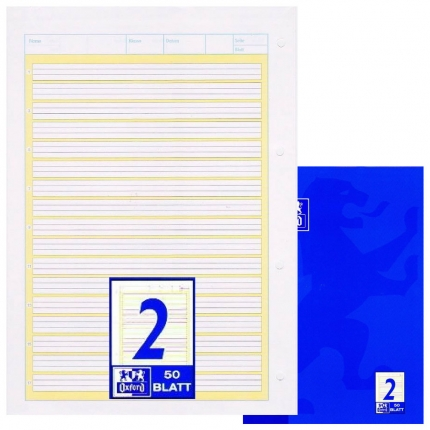 Arbeitsblock Lineatur 2, Oxford, liniert mit Kontrastlineatur, A4