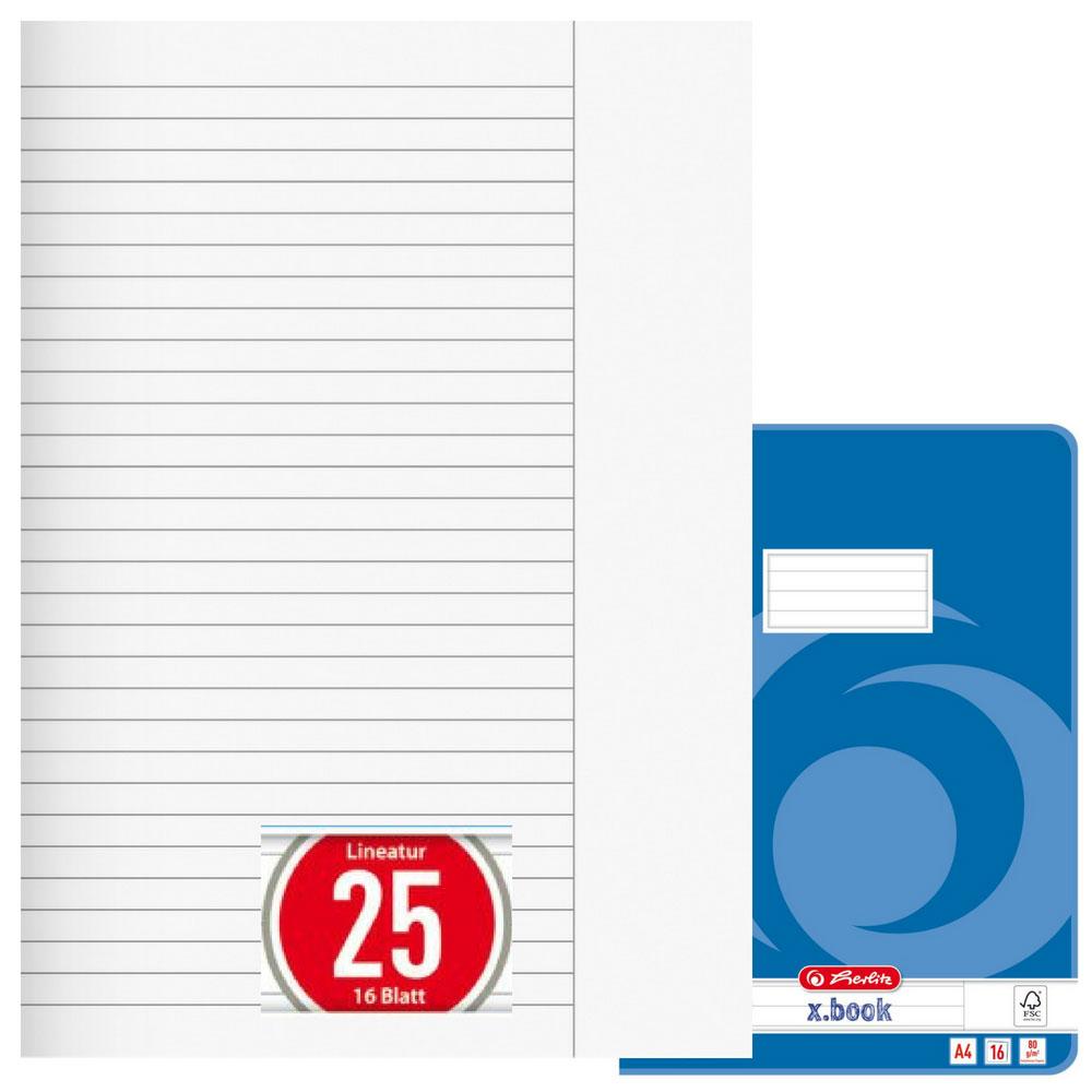 16 Blatt DIN A4 5 Herlitz Schulhefte Lineatur 21