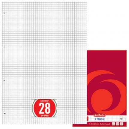 Karierter Schulblock mit Doppelrand, gelocht (A4, Lineatur 28, Herlitz)