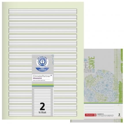 Schulhefte Blauer Engel: Lineatur 2, A4