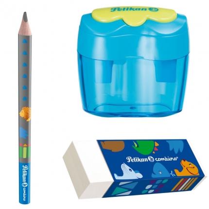 Pelikan Starterset combino blau: Jumbo Bleistift, Dosenanspitzer, Radierer