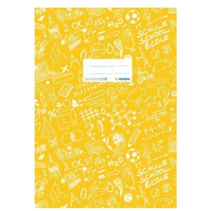 Hefteinband A4, gelb gemustert, Herma Schoolydoo