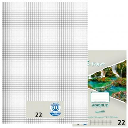Recycling Schulhefte Lineatur 22, kariert, A4, Green Paper
