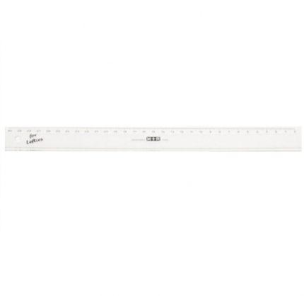 Linkshänder Lineal, 30 cm, Kunststoff transparent, M+R