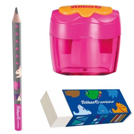 Pelikan Starterset combino pink: Jumbo Bleistift, Dosenanspitzer, Radierer