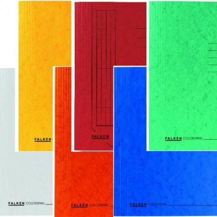 Sechs Schnellhefter von Falken: weiß und gelb, orange, rot, blau, grün