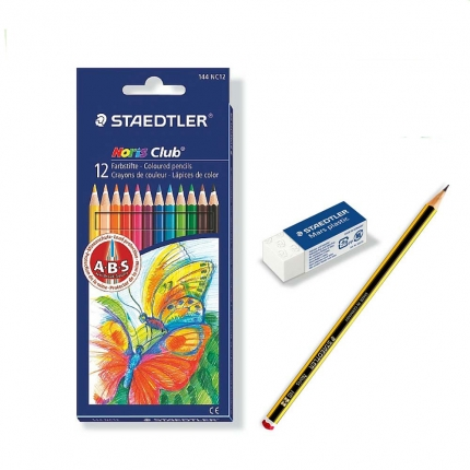 Staedtler 12 Farbstifte Noris Club + Radierer + Bleistift HB