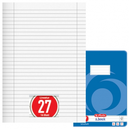 Heft Lineatur 27, liniert mit Doppelrand, A4, Herlitz