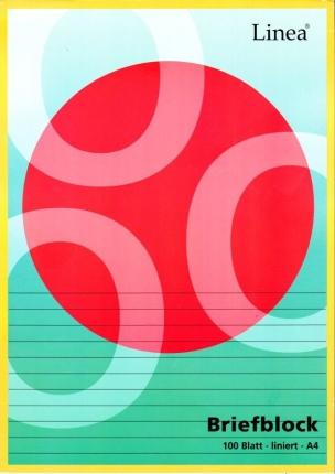 Linierter Briefblock, 100 Blatt ungelocht (A4, Lineatur 21, Linea)