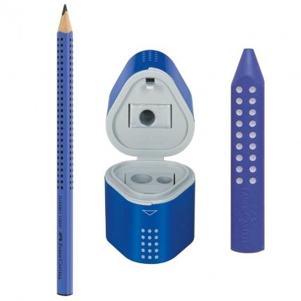 Jumbo Grip Set Faber-Castell, blau: Dicker Bleistift, Radierer, Spitzdose