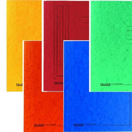 Fünf Schnellhefter von Falken: gelb und orange, rot, blau, grün