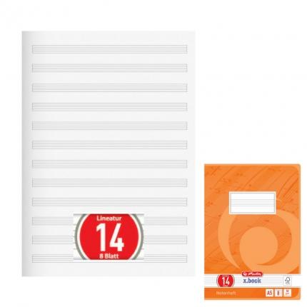 Herlitz Notenheft A5 ohne Hilfslinien, Lineatur 14