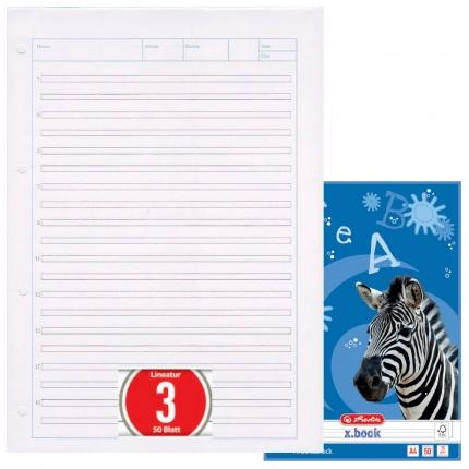 Arbeitsblock Lineatur 3, 50 Blatt gelocht, A4, Herlitz