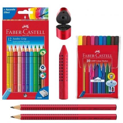 Faber-Castell Grip Set, rot: Jumbo Grip Stifte, Spitzer