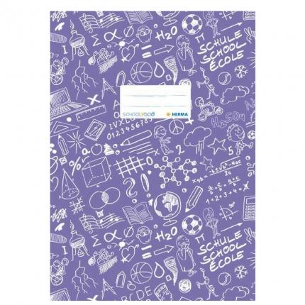 Hefteinband A4, violett gemustert, Herma Schoolydoo