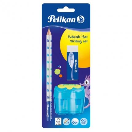 Pelikan Starterset blau: Jumbo Bleistift, Dosenanspitzer und Radierer