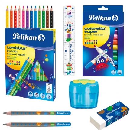 Pelikan Schreibset, blau: Jumbo Stifte, Radierer, Spitzer