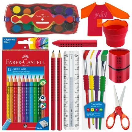 Faber-Castell Set XL, rot: Jumbo Grip Stifte, Farbkasten und mehr