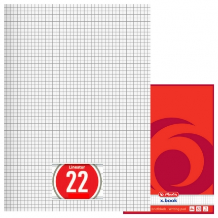 Briefblock kariert, 50 Blatt ungelocht (A4, Lineatur 22, Herlitz)