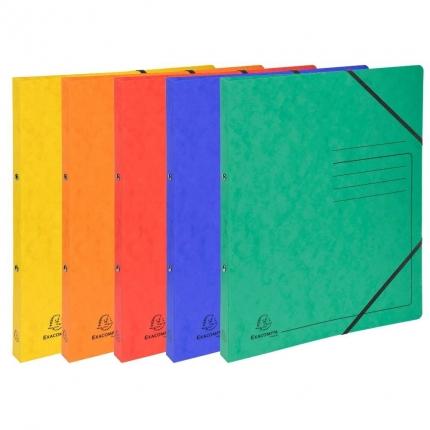 Fünf Ringhefter Exacompta: gelb, orange, rot, blau und grün
