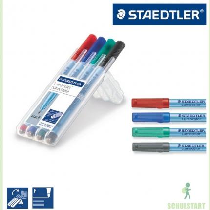 4 Staedtler Lumocolor Correctable, Aufstellbox