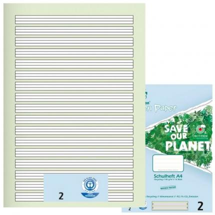 Schulhefte Blauer Engel: Lineatur 2, A4, Green Paper