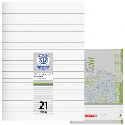 Schulhefte Blauer Engel: Lineatur 21, A4