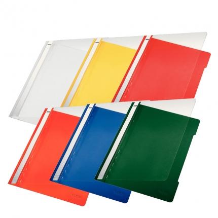 Leitz Schnellhefter PVC, 6 Farben: weiß und gelb, orange, rot, blau, grün