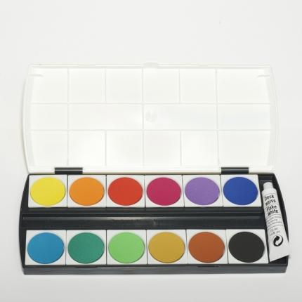 Deckfarbkasten, 12 Farben mit Deckweiß von Geha