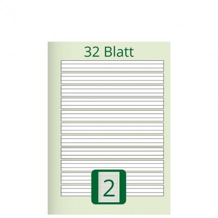 Doppelheft DIN A5, Lineatur 2, 32 Blatt