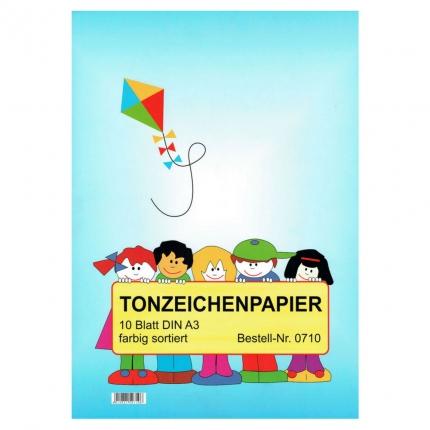 Tonzeichenpapier A3 farbig, 10 Blatt