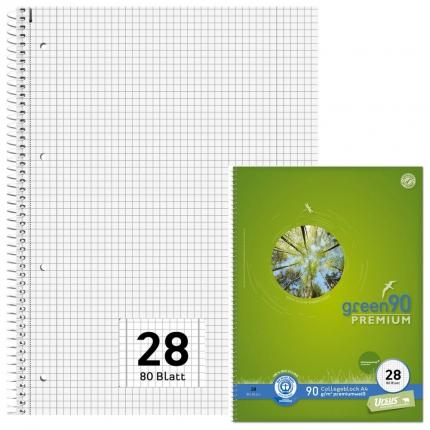 Ursus Collegeblock Blauer Engel premiumweiß, Lineatur 28