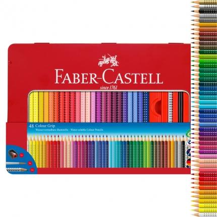 Faber-Castell Colour Grip 48 Farben im Metalletui inkl. Spitzer, Pinsel und Grip