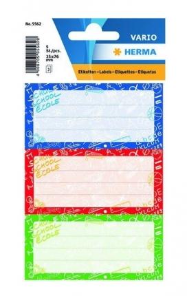 Heftetiketten in drei Farben, Herma Schoolydoo