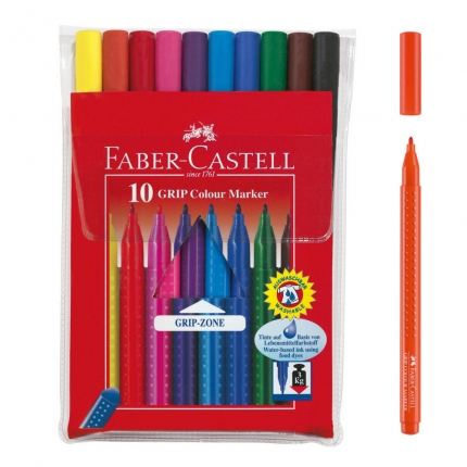 Faber-Castell Filzstifte Grip Colour, 10er Etui