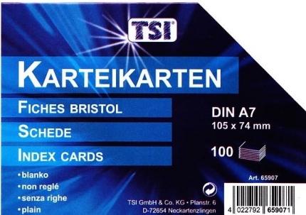 Karteikarten blanko A7, 100er Packung